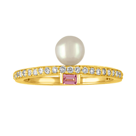 Claire Ring Mini: 18k Gold, Diamonds, Pink Sapphire Baguettes, White Akoya Pearl