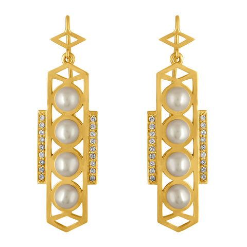 Cosmo Earrings: 18k Gold, White Pearls