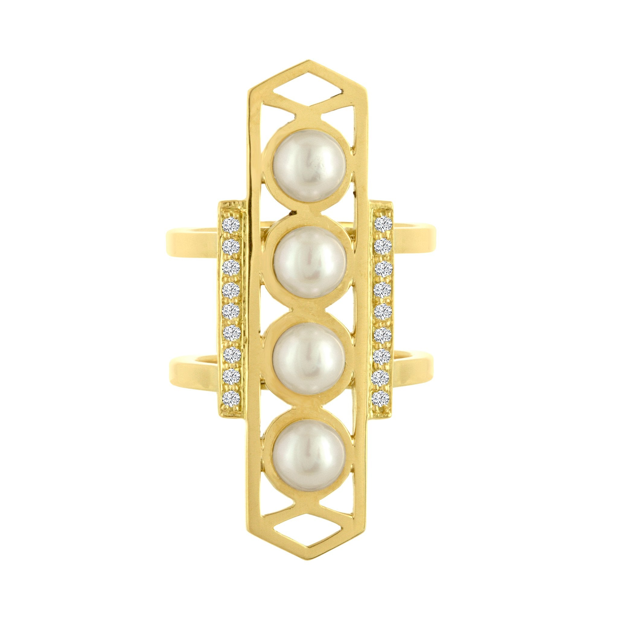 Cosmo Ring: 18k Gold, White Pearls, Diamonds