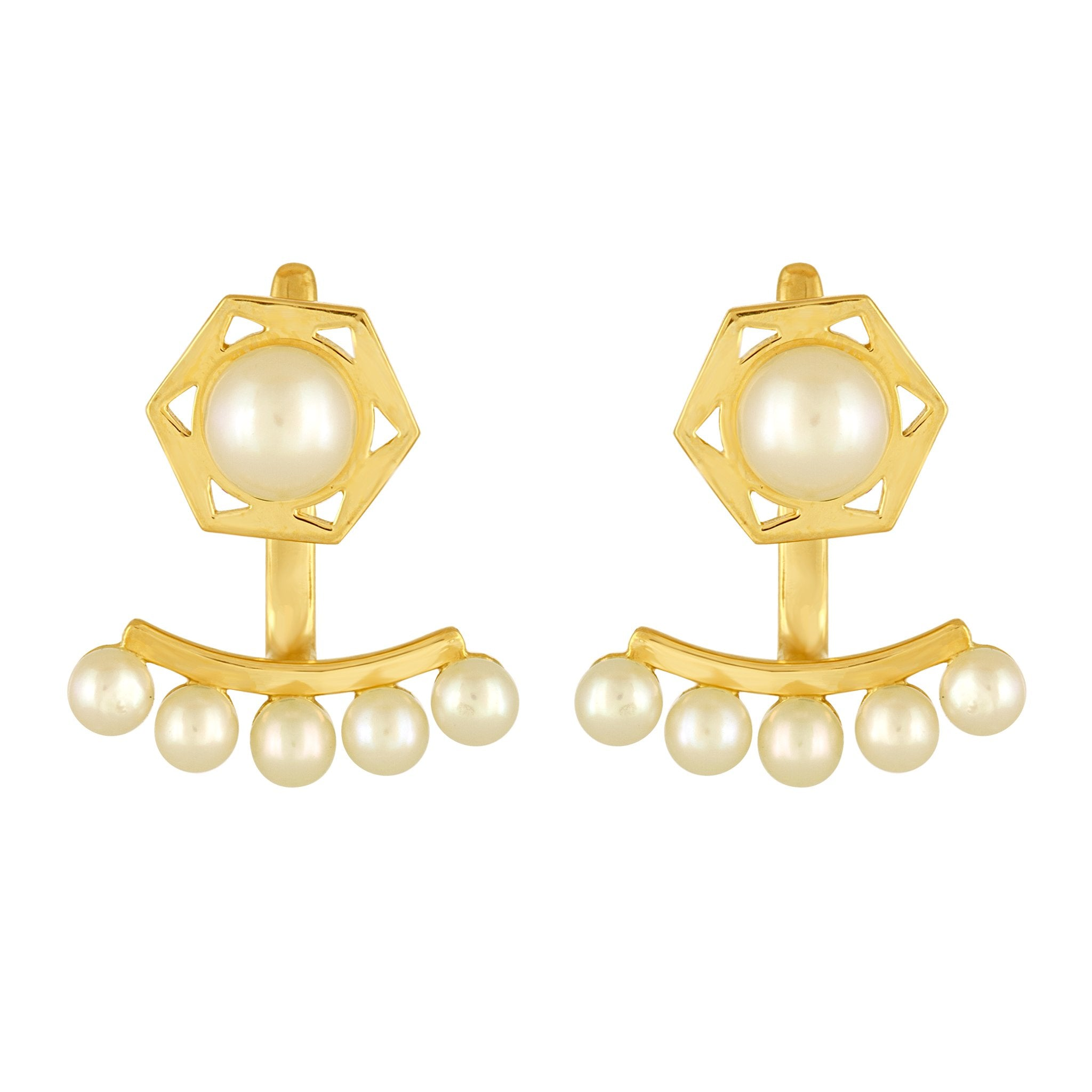 Cosmo Stud Jacket Earrings: 18k Gold, Pearls