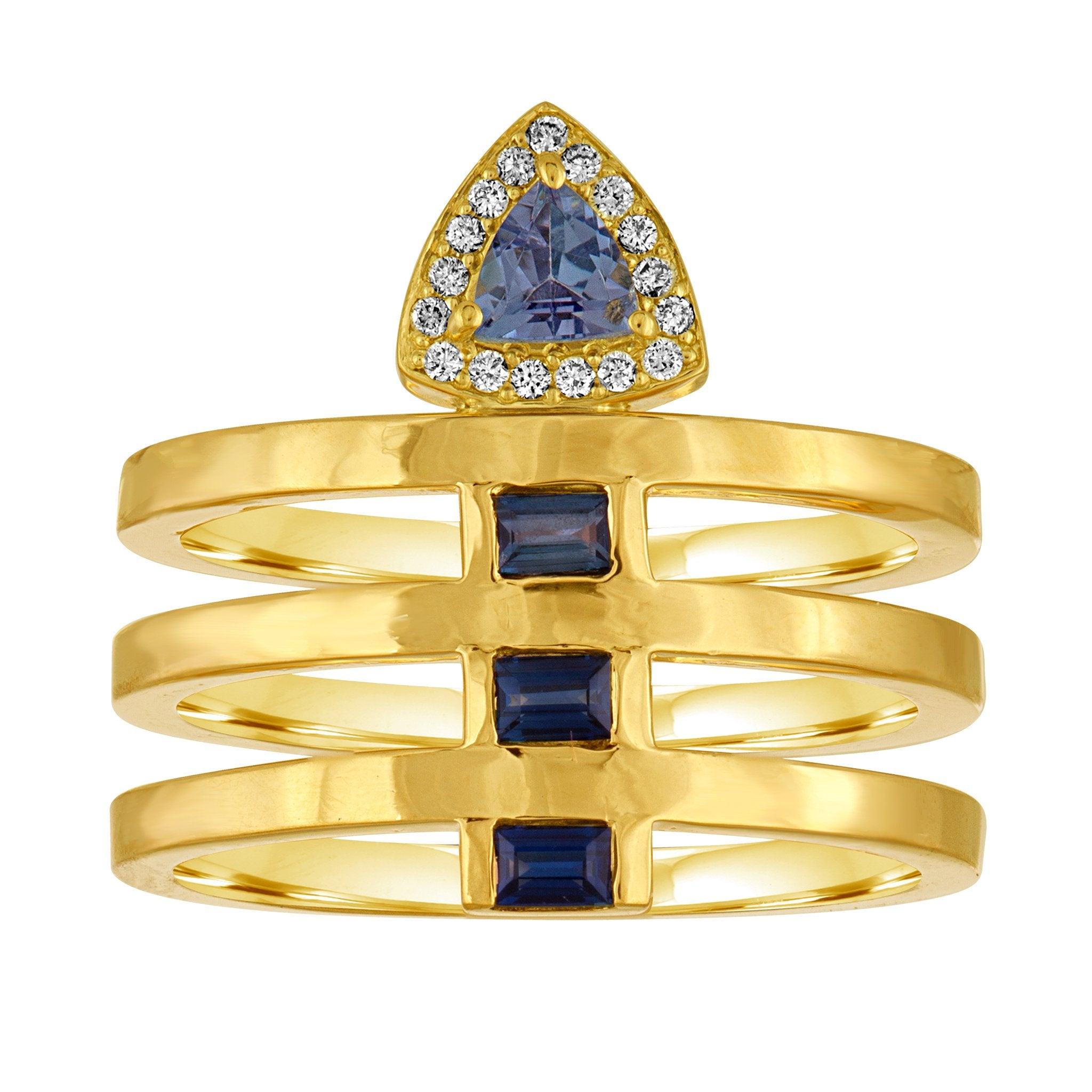 Lara Ring: 18k Gold, Tanzanite Trillion, Blue Sapphire Baguettes, Diamonds