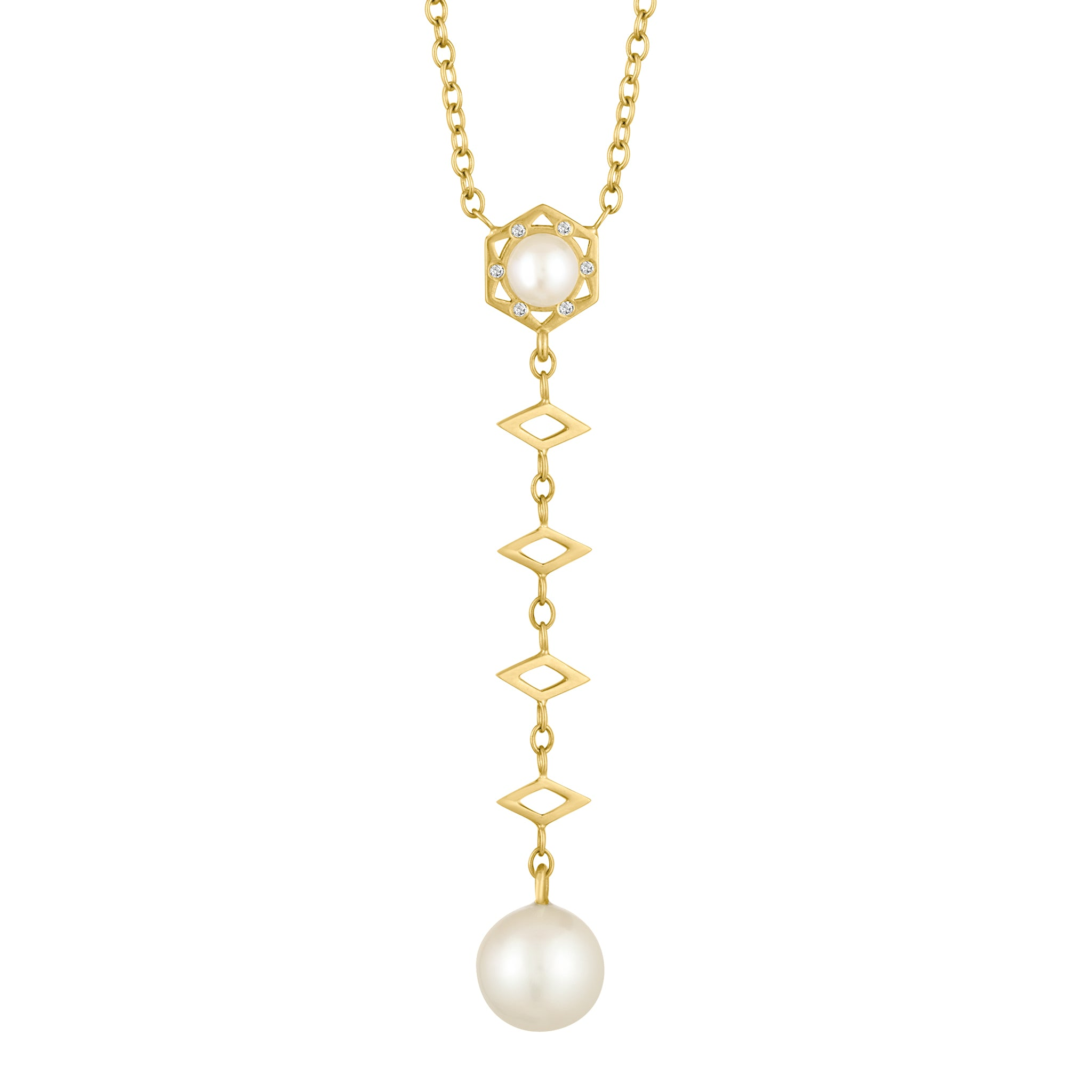 Cosmo Pearl Lariat Long Necklace: 18k Gold, Diamonds, Pearl Drop
