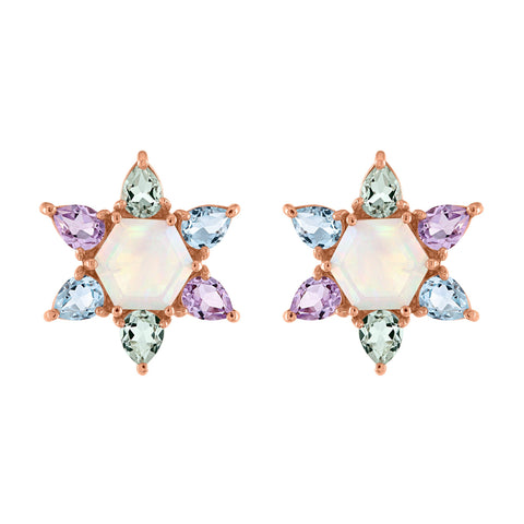 Bloom Stud Earrings: 14k Rose Gold, Opal, Green, Lavender, Swiss Blue Topaz Pears