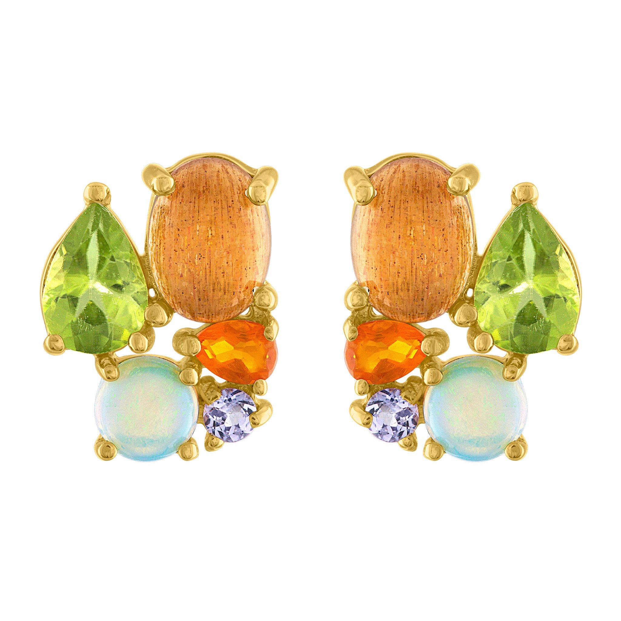 Bon Bon Stud Earrings: 14k Gold, Peridot, Sunstone, Fire Opal, Opal, Tanzanite