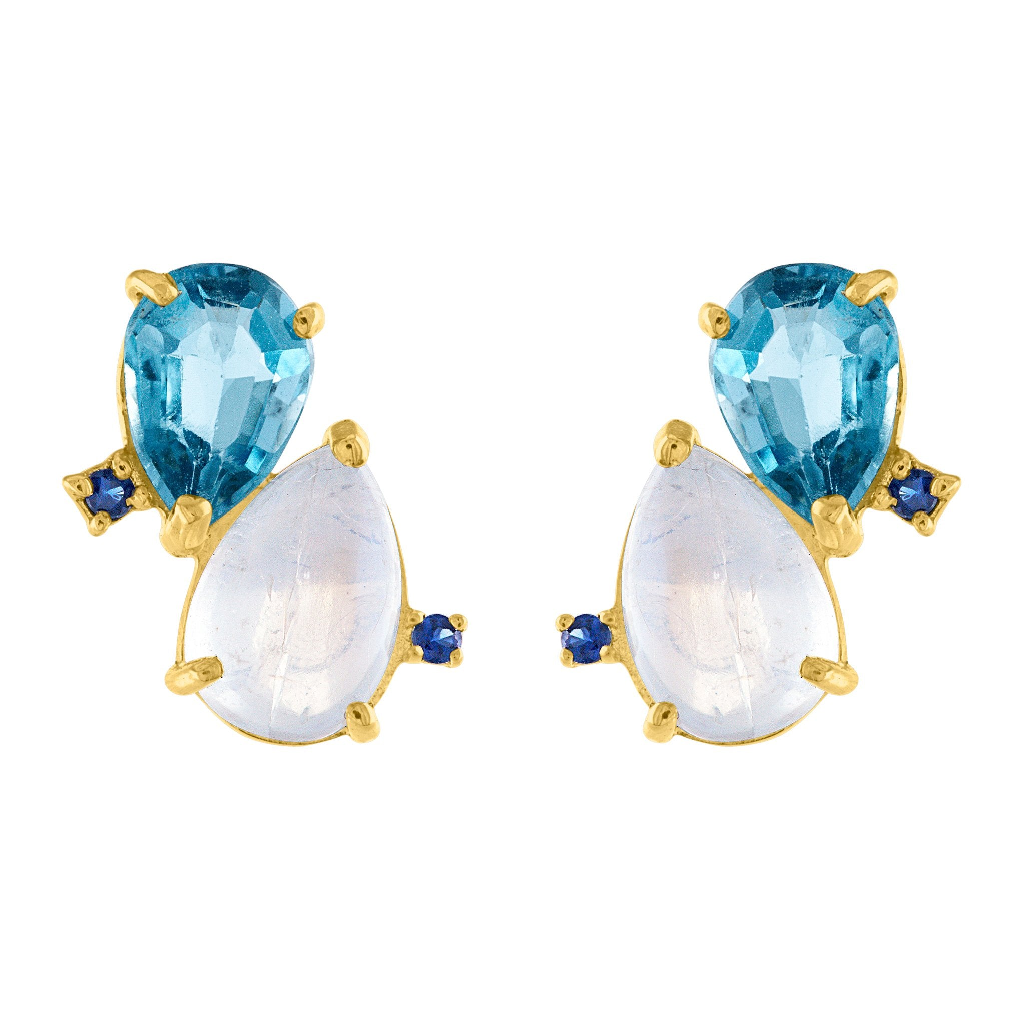 Coud Stud Earrings: 14k Gold, Moonstone, London Blue Topaz, Blue Sapphire