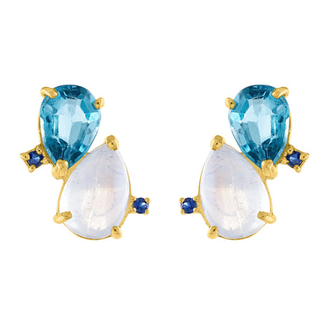 Cloud Stud Earrings: 14k Gold, Moonstone, London Blue Topaz, Blue Sapphire
