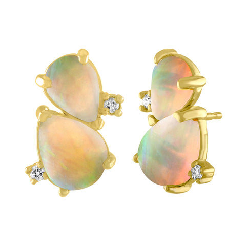Cloud Stud Earrings: 14k Gold, Pear Shaped Opals, Diamonds
