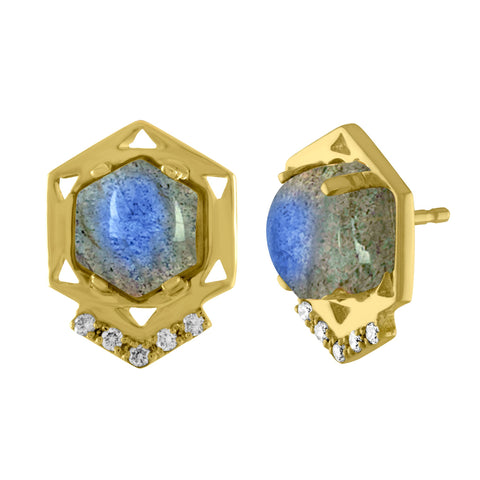 Cosmo Stud Earrings: 14k Gold, Hex Labradorite, Diamonds