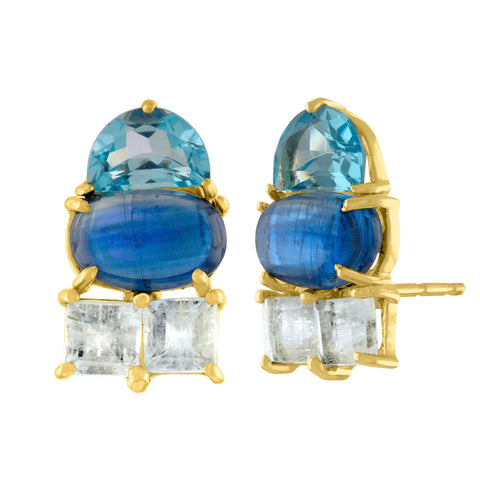Dazzle Stud Earrings: 14k Gold, Blue Topaz Half Moon, Kyanite, Moonstone