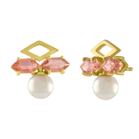 Geo Stud Earrings: 14k Gold, Pearl, Pink Tourmaline Kites