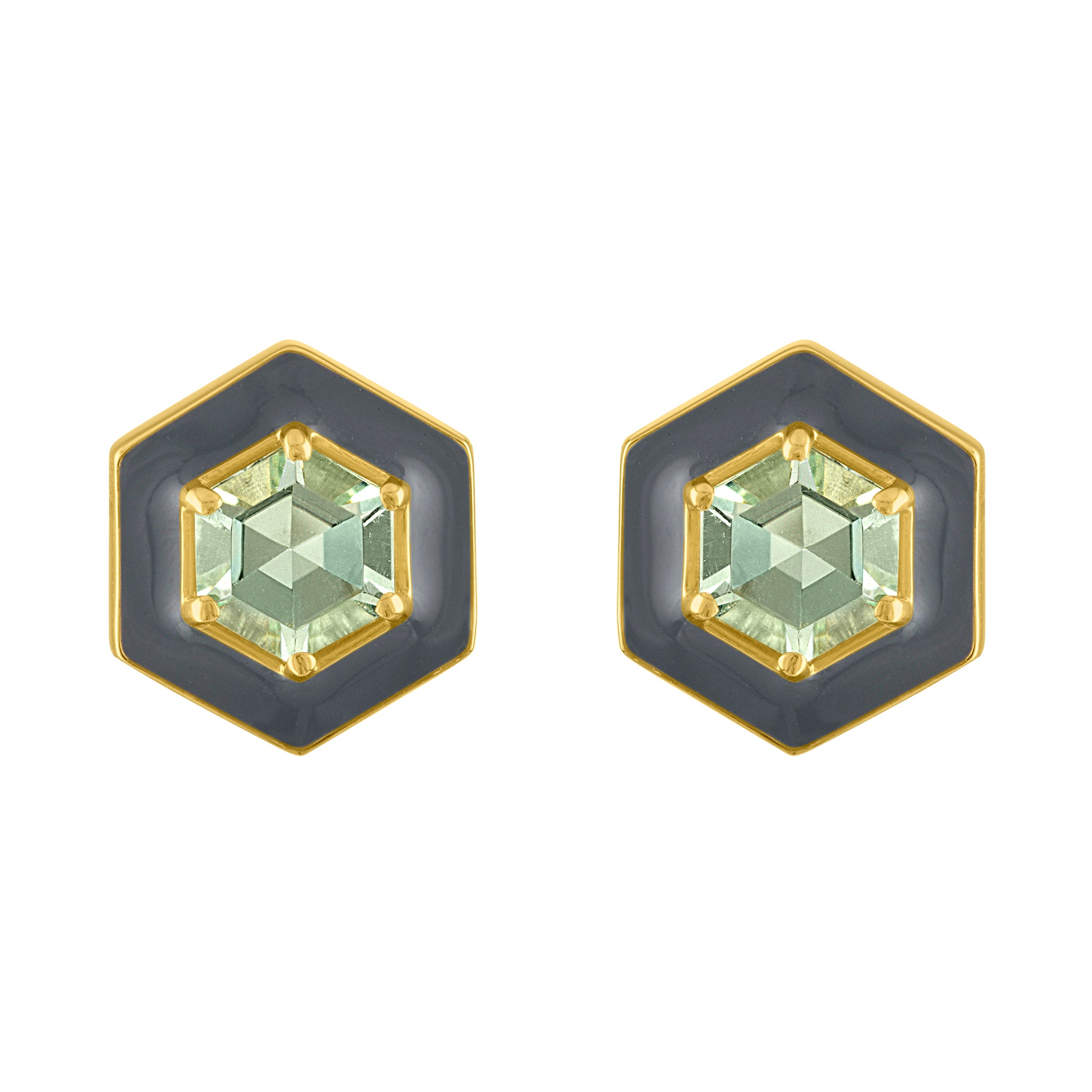 Amy Glaswand Fine Jewelry | Hex Enamel Studs