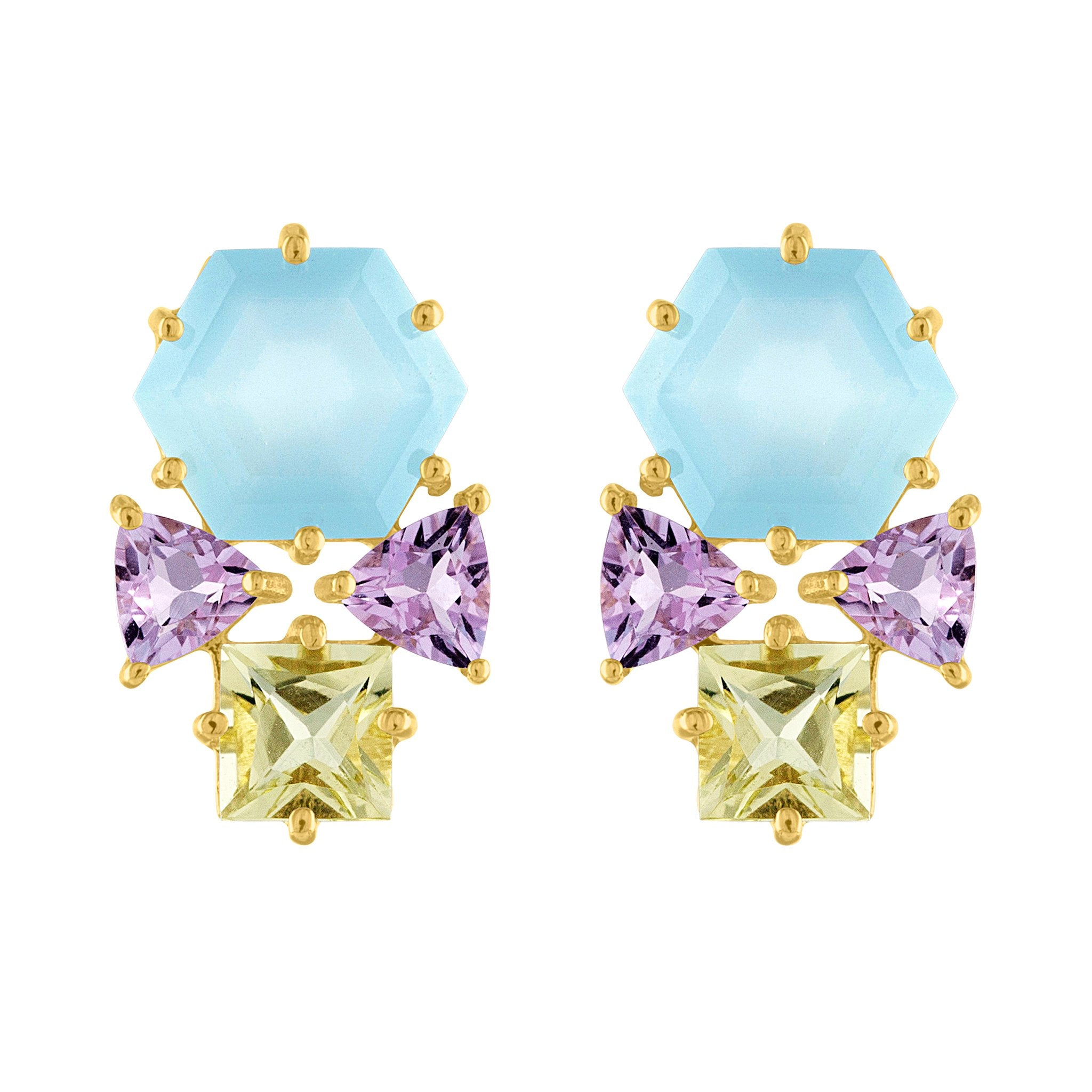 Moon Stud Earrings: 14k Gold, Rainbow Moonstone Hexagon, Apatite, London Blue Topaz