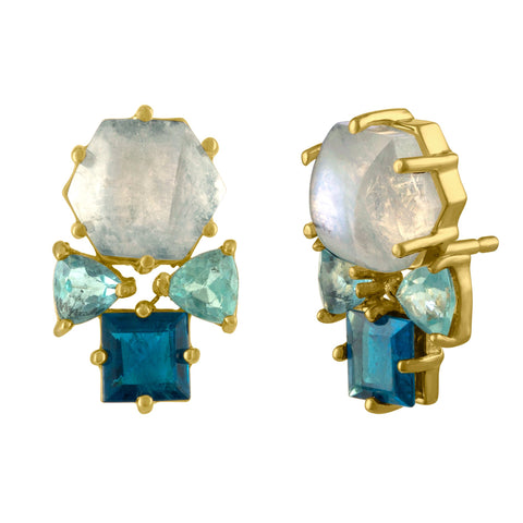 Moon Stud Earrings: 14k Gold, Aqua Hexagon, Lavender Topaz, Green Topaz
