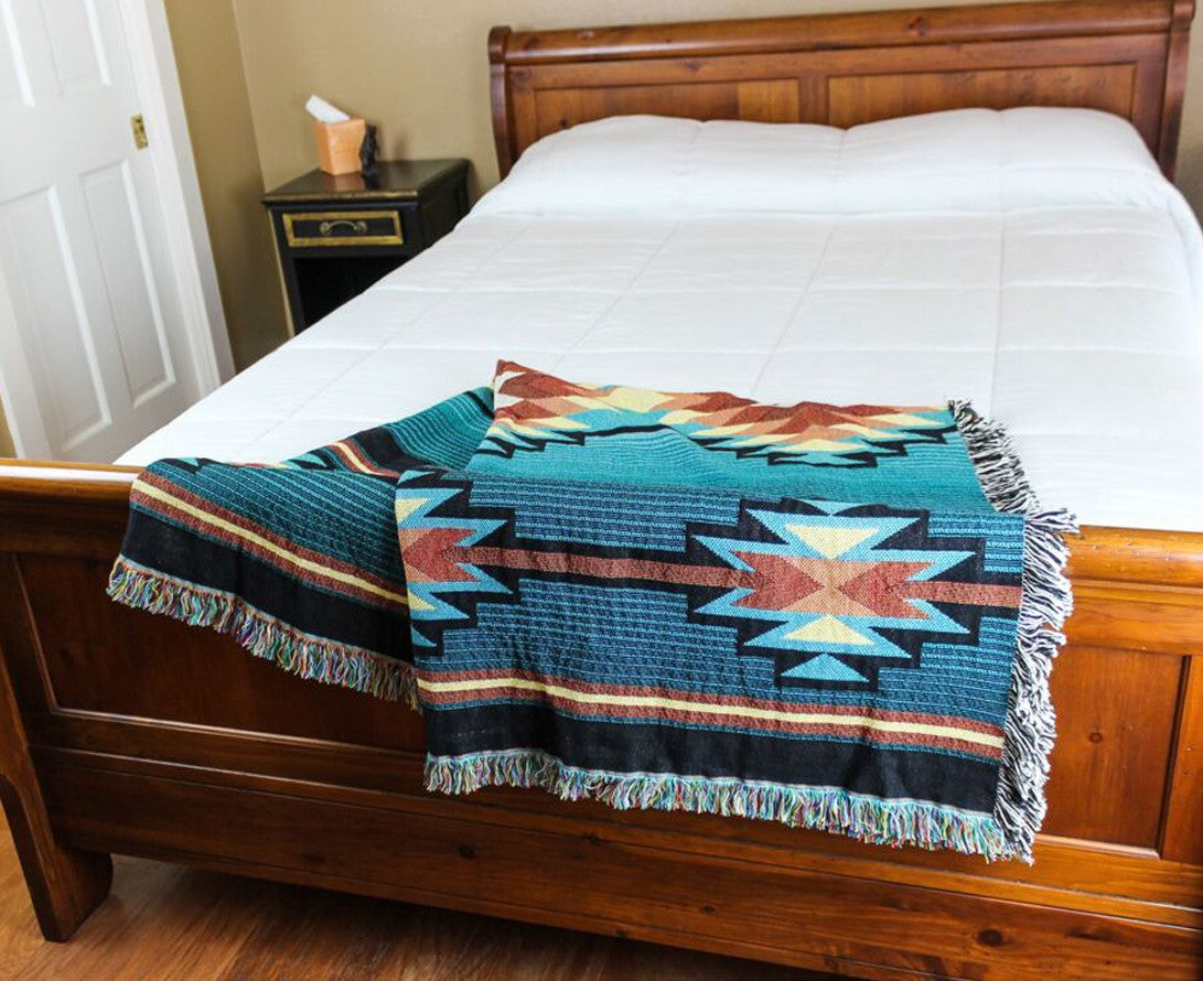 Pure Country Weavers' iconic fringed throw is our flagship product. Made in the USA from sustainably sourced cotton, our throws are woven to last a lifetime.Suitable for framing, this truly is art you can wrap yourself in.
