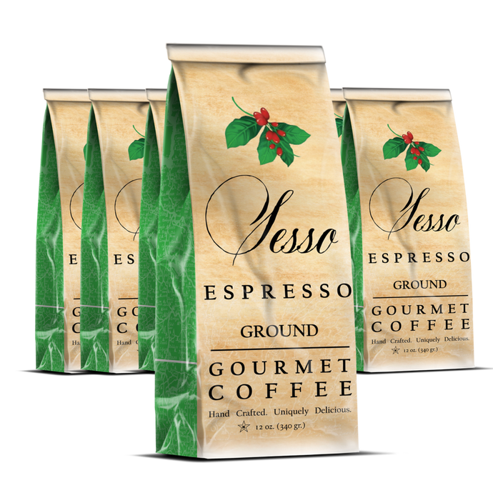 Sesso Espresso Ground Coffee <br> Case of 8 12 oz bags <br> Your choice of blend