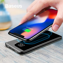 Load image into Gallery viewer, Baseus 8000mAh QI Wireless Charger Power Bank For iPhone Samsung Powerbank Dual USB Charger Wireless External Battery Pack Bank
