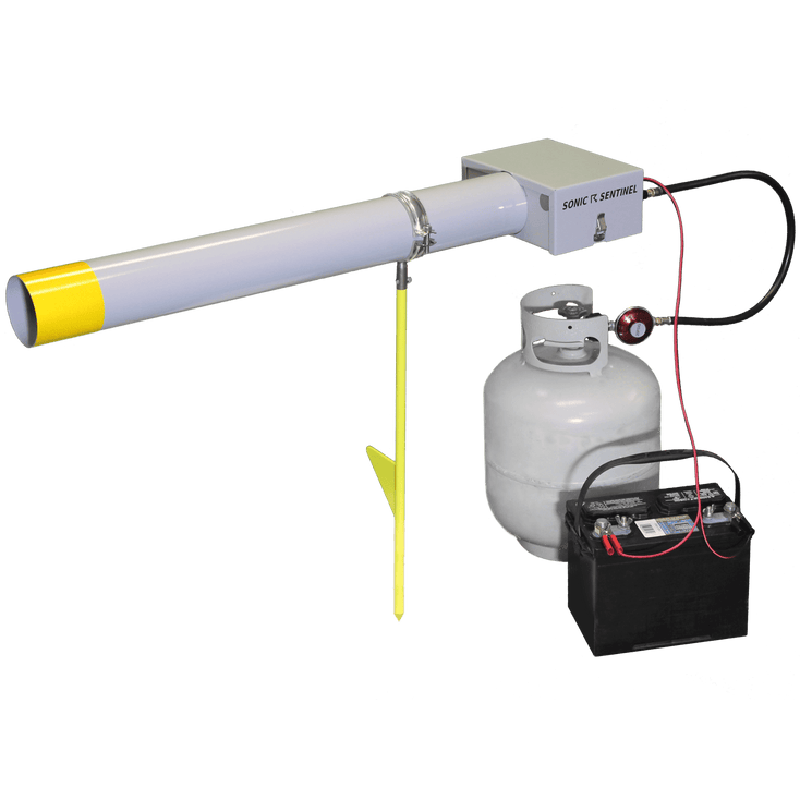 M14-1 Lite Scare Cannon mounted on a stake with a propane tank and 12-volt battery
