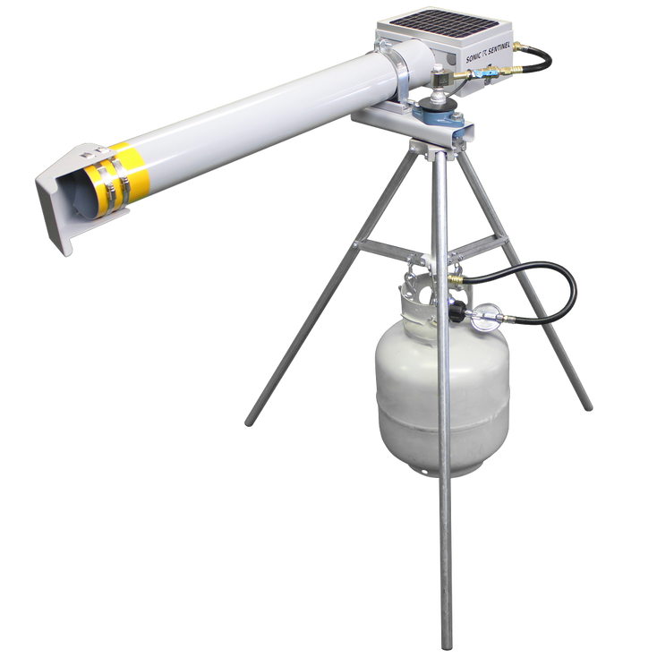 M14-1 360° Rotating Tripod with a propane tank and an M14 on top
