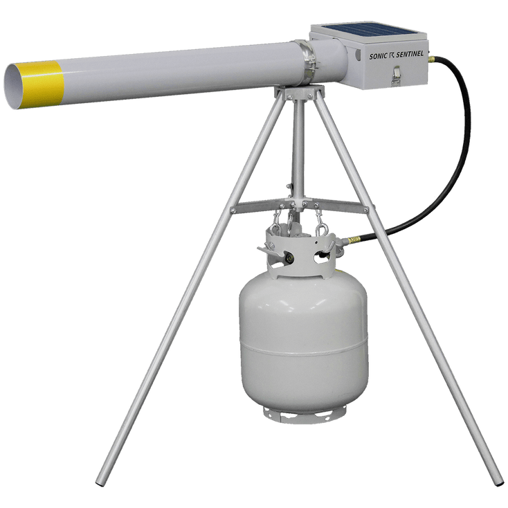 M14-1 Propane Scare Cannon with its tripod and a propane tank
