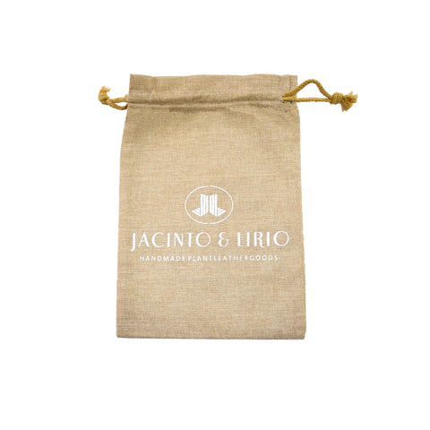 Front of Khaki Linen Drawstring Eco-Bag with Jacinto and Lirio Logo Printed made with Water Hyacinth Vegan Leather