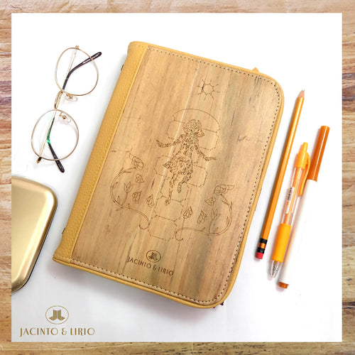 Front of Scotch Beige Laró Customizable Vegan A5 Dateless Planner with Piko Themed Design