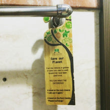 Load image into Gallery viewer, Eco-friendly Water Hyacinth Vegan Leather Save our Planet Hotel Door Signage - Jacinto & Lirio
