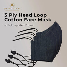 Load image into Gallery viewer, 3 Ply Washable Elastic Headloop with Adjuster Denim Masks for Adults, Teens and Kids with Integrated Filter and Extra Pocket