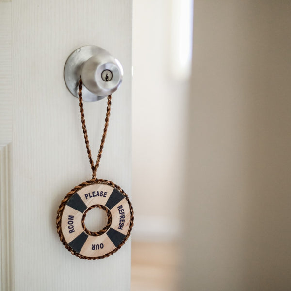 Vegan Leather Eco-friendly Water Hyacinth Do Not Disturb Resort Door Signage - Jacinto & Lirio