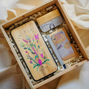 Jacinto & Lirio vegan Leather Wooden Box Gift Set Containing Kadayawan, Pitaka pocketsize multicard holder wallet and Pinto personalizable journal or passport sleeve
