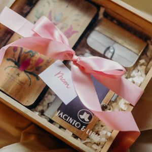 Jacinto and Lirio Maligaya Wooden Box with Acrylic Slide Cover made with water hyacinth vegan leather with a Pink ribbon tied and card on top