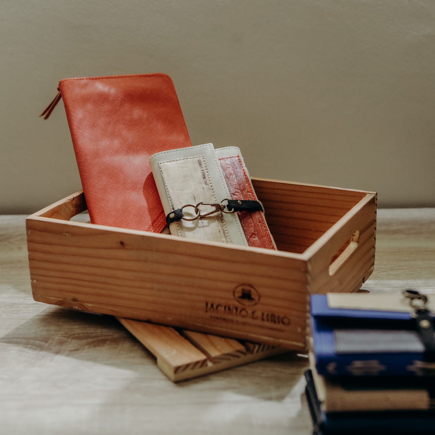 Jacinto and Lirio Adhikain Wooden Crate Gift Box with Pacem Wallet and Bucket List Travel Wallet inside
