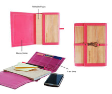 Load image into Gallery viewer, Artisan Medium Dual Cover Refillable Vegan Leather Journal (Pink) - Jacinto & Lirio