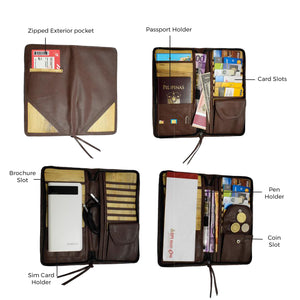 Bucket List Zippered Travel Wallet or Checkbook Wallet Essentials Purse with Retractable Wristlet (Brown) - Jacinto & Lirio