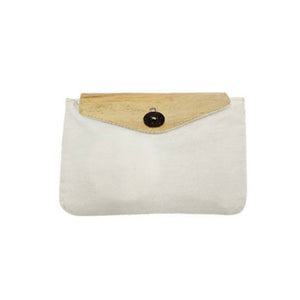 Canvas Pouch with Vegan Leather Flap and Coconut Button (CCKIT04) - Jacinto & Lirio