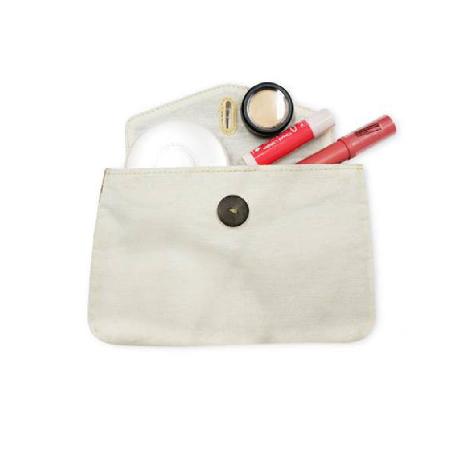 Canvass Pouch with Vegan Leather Flap and Coconut Button (CCKIT04) - Jacinto & Lirio