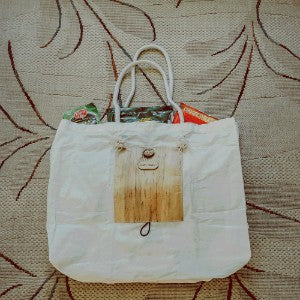Foldable Canvas Tote Bag with Vegan Leather with Coconut Button - Jacinto & Lirio