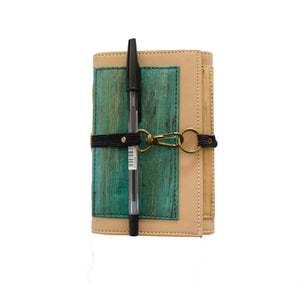 Artisan II Dual Cover Vegan Passport or Journal Sleeve - Mini (Butterscotch Beige-Turquoise)