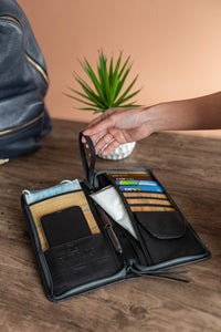Bucket List Zippered Checkbook Wallet Essentials Purse with Retractable Wristlet - Jacinto & Lirio