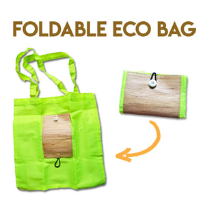 Two pictures of Green Taffeta Eco Bag made with Water Hyacinth Accents one spread out and one folded closed to a wallet size