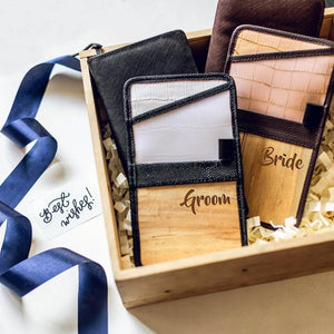 Jacinto & Lirio vegan Leather Gift Set Containing engraved lakbay travel kit and bucketlist travel wallet for the groom and bride