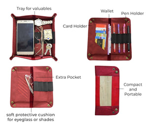 Guhit Vegan Leather Valet Tray Organizer Wallet Pencil Case, Glasses Case (Wine Red) - Jacinto & Lirio