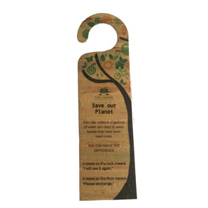 Front of Jacinto and Lirio Door hanger with printed text made with water hyacinth vegan leather