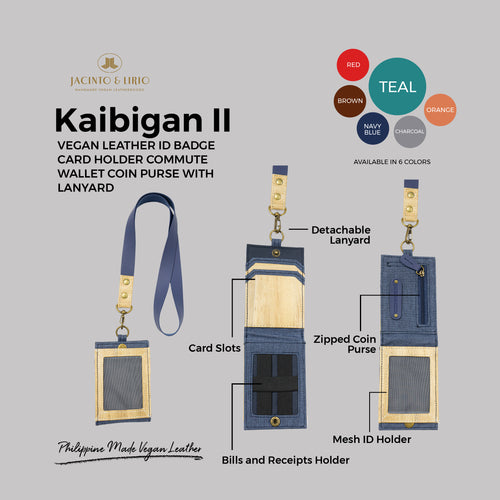 Kaibigan II Vegan Leather ID Badge Card Holder Commute Wallet Coin Purse with Leather Lanyard (Vertical) - Jacinto & Lirio