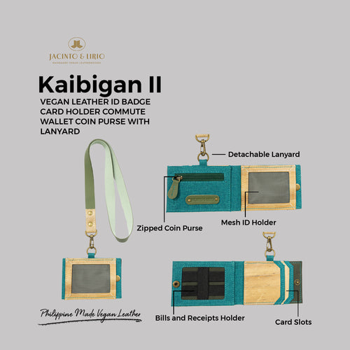 Kaibigan II Vegan Leather ID Badge Card Holder Commute Wallet Coin Purse with Leather Lanyard (Horizontal) - Jacinto & Lirio