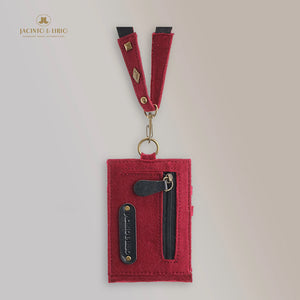 Kaibigan I Vegan Leather ID Badge Card Holder Commute Wallet Coin Purse with Leather Lanyard (Vertical)