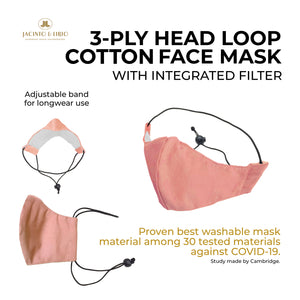 3 Ply Washable Elastic Headloop with Adjuster Canvas Masks for Adults, Teens and Kids with Integrated Filter and Extra Pocket- Pink - Jacinto & Lirio