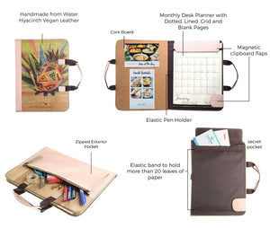 Alamat Vision Board Monthly Vegan Leather Desk Planner (Pinya) - Jacinto & Lirio