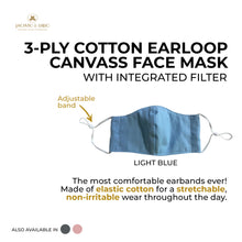 Load image into Gallery viewer, 3 Ply Washable Comfortable Cotton Earloop with Adjuster Canvas Cotton Masks for Adults, Teens and Kids With Integrated Filter and Extra Pocket - Jacinto & Lirio