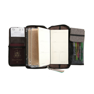 Fiesta Zippered Refillable Vegan Leather Traveler's Notebook with Dateless Weekly Planner and Dotted Notebook –Standard Size (Kadayawan) - Jacinto & Lirio