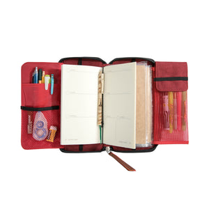 Fiesta Zippered Refillable Vegan Leather Traveler's Notebook with Dateless Weekly Planner and Dotted Notebook –Standard Size (Masskara) - Jacinto & Lirio